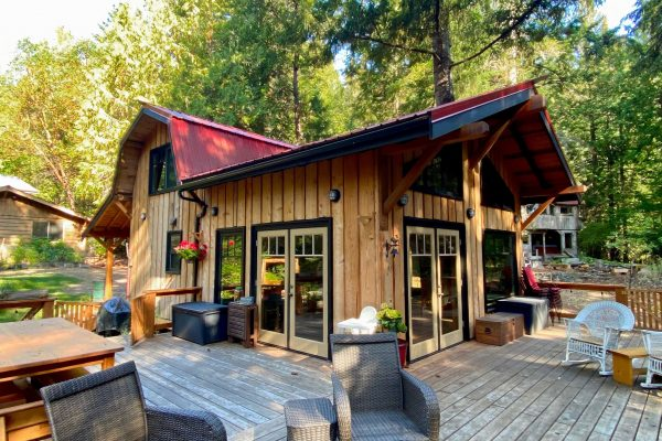 Cottage renovation cedar deck french doors design Galiano Island Vancouver British Columbia