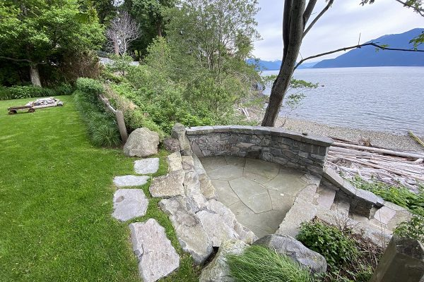 British Columbia meadow garden design oceanfront natural stone Stephen Stewart ornamental grass