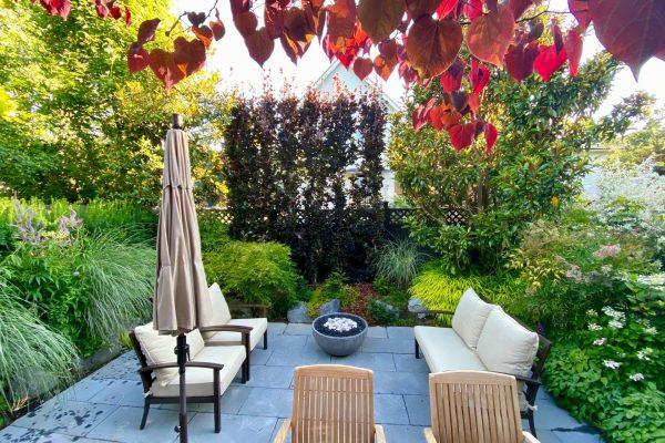 Firebowl water bowl stone patio trellis small garden bamboo Vancouver Garden design Stephen Stewart