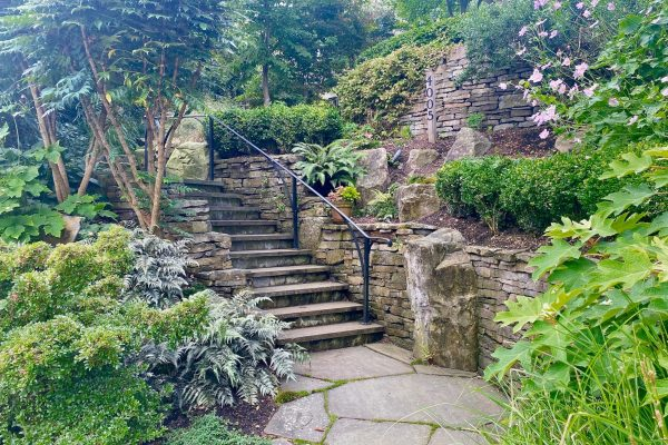 Garden design Vancouver British Columbia hardscape stone steps dry stack wall basalt garden stairs