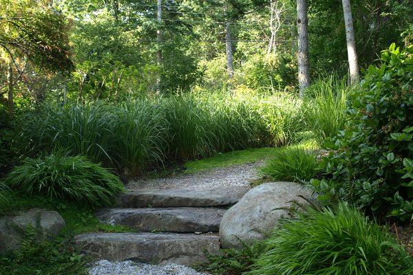 Natural stone steps flagstone ornamental grass cottage garden design by Stephen Stewart